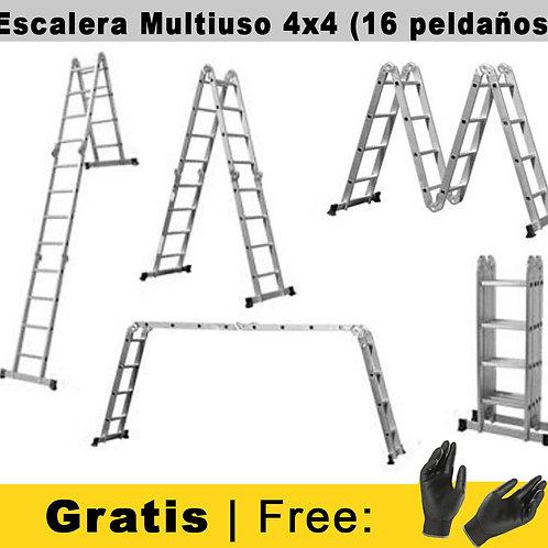 Escalera de aluminio Multifuncional 4X4 -16 Peldaños