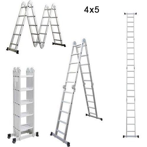 Escalera de aluminio Multifuncional 4X5 - 20 Peldaños