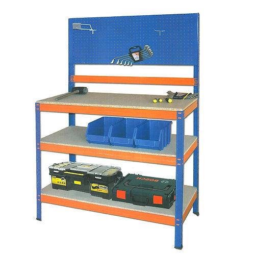 Banco de Trabajo 100x90x50cm + 2 Baldas 200 kg (Azul-Naranja)