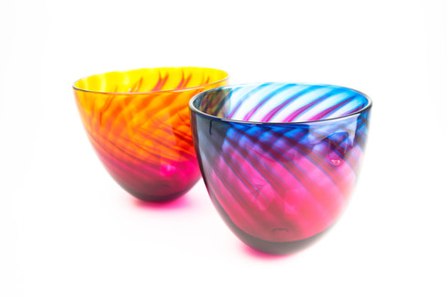 Aurora Bowl, Handmade Blown Glass, Made in Cornwall, The Glass Barn Gallery