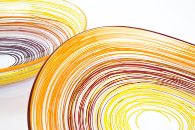 Spiral Bowl, Handmade Blown Glass, Made in Cornwall, The Glass Barn Gallery