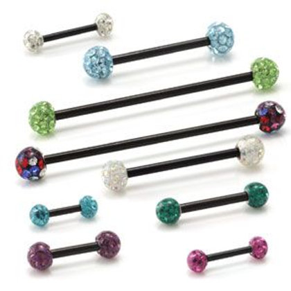 Double Jewelled Black PVD Barbell with Double Glit Balls
