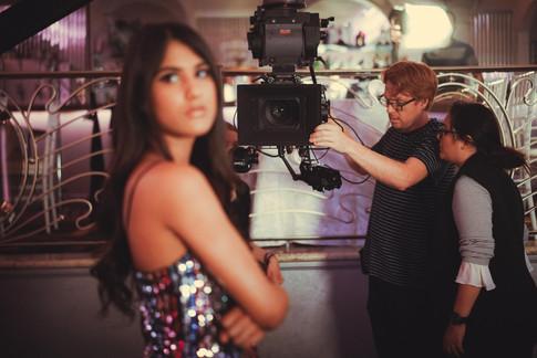 Jennalyn Ponraj as Leila.   Mathieu Seguin and Zahra Golafshani composing the shot.