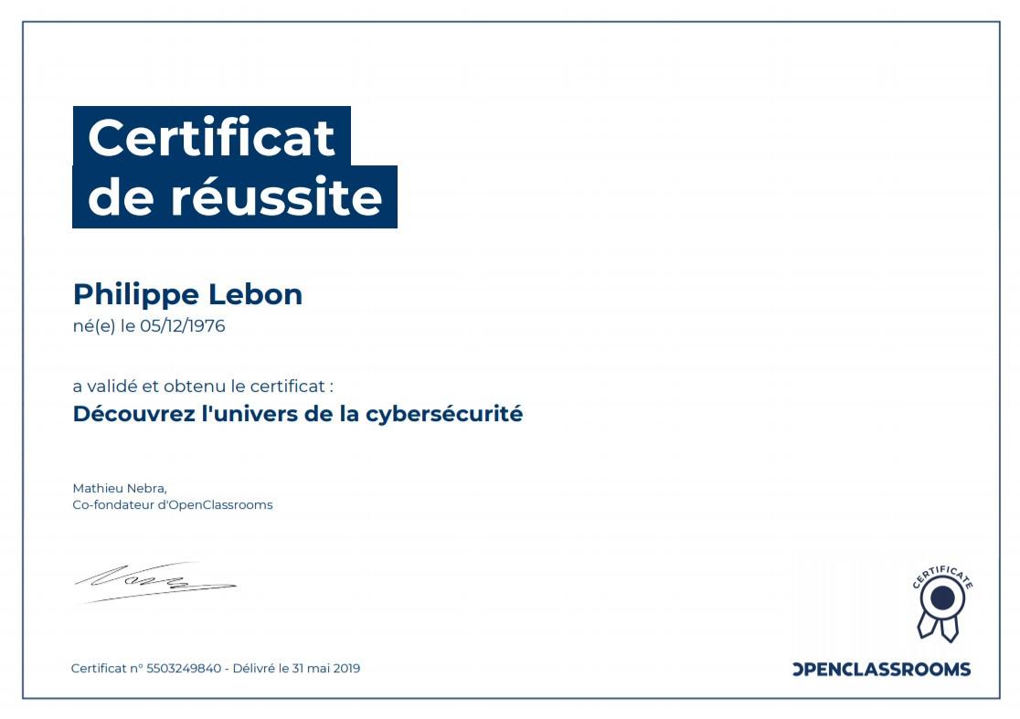 Certificat Univers CyberSécurité