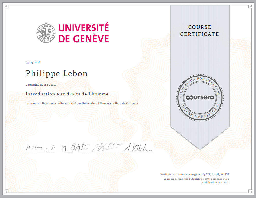 Certificat Introduction aux droits de l'homme
