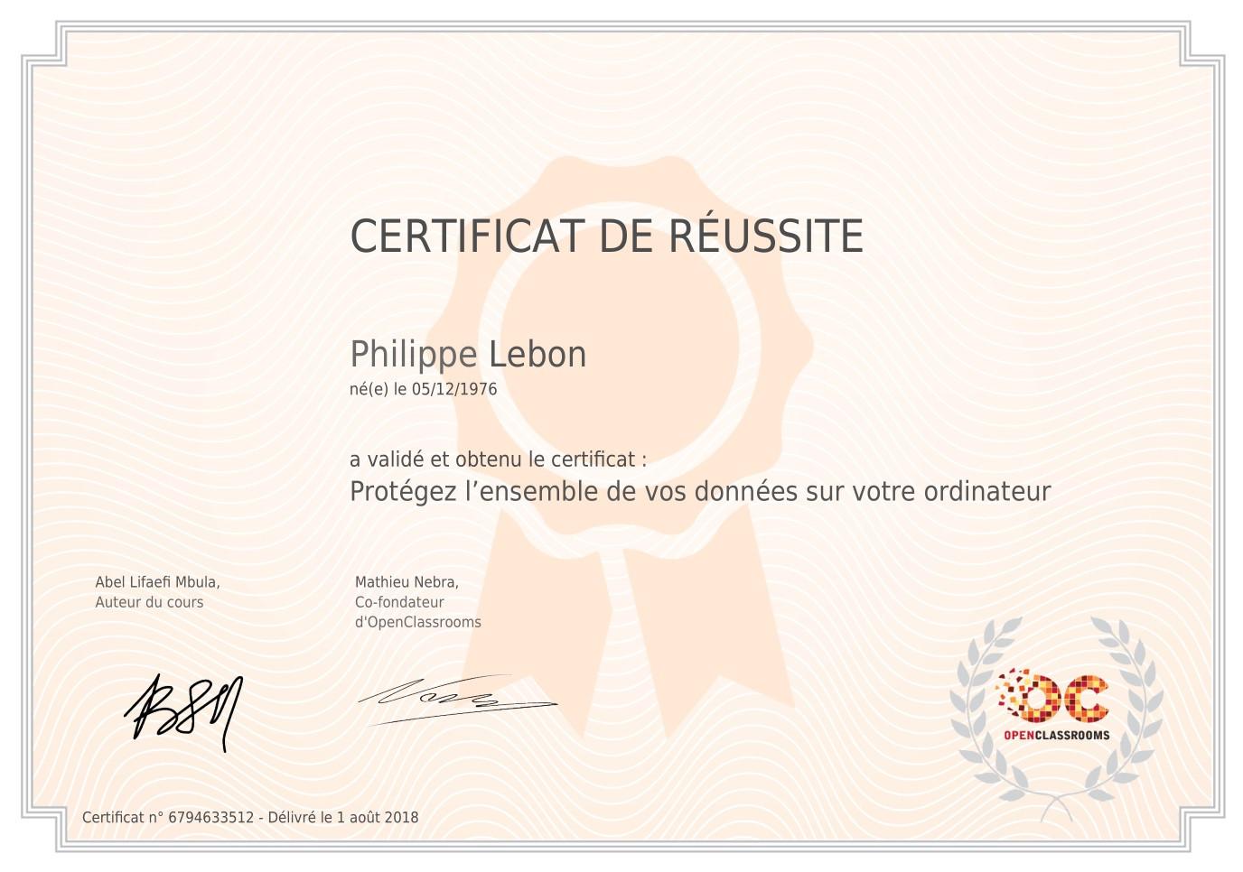 """Certificat """"Protéger son Ordinateur"""""""