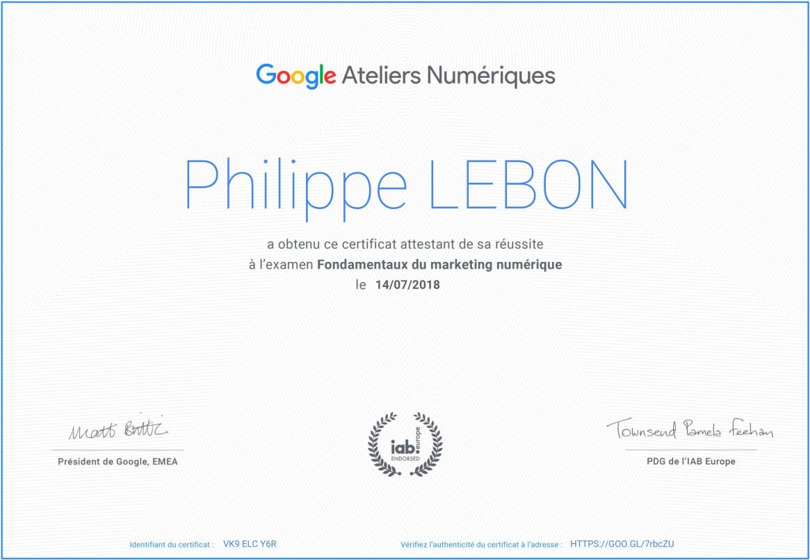 Certificat Google Marketing Numérique 2018