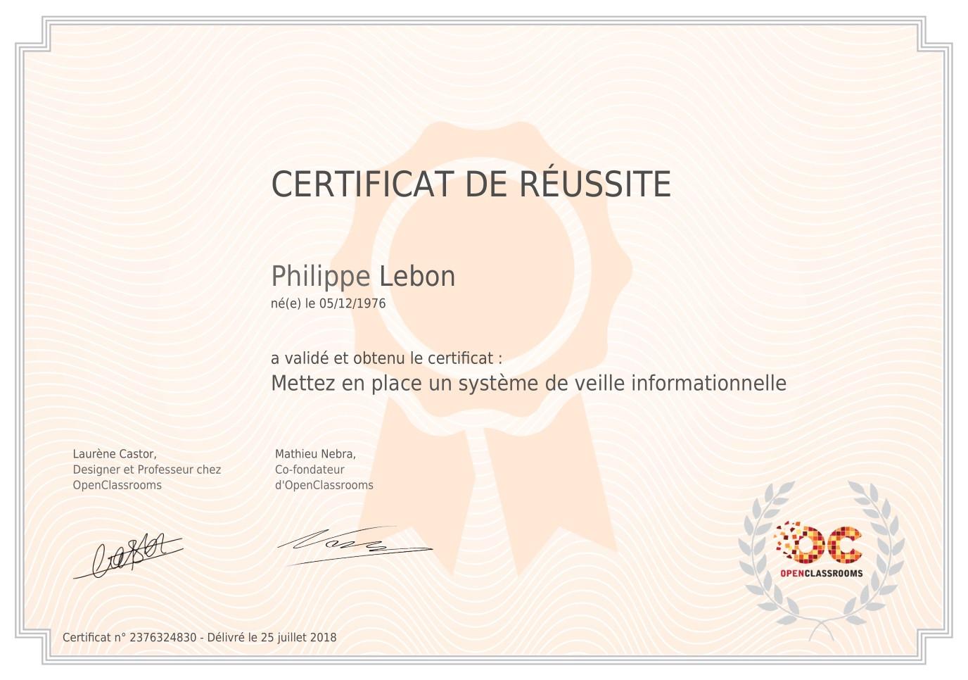 "Certificat ""Veille Informationnelle"""