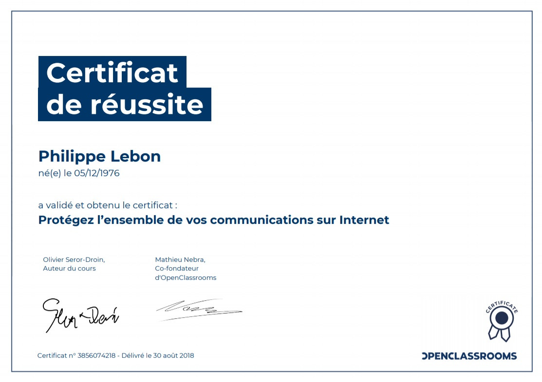 Certificat protéger communication Internet