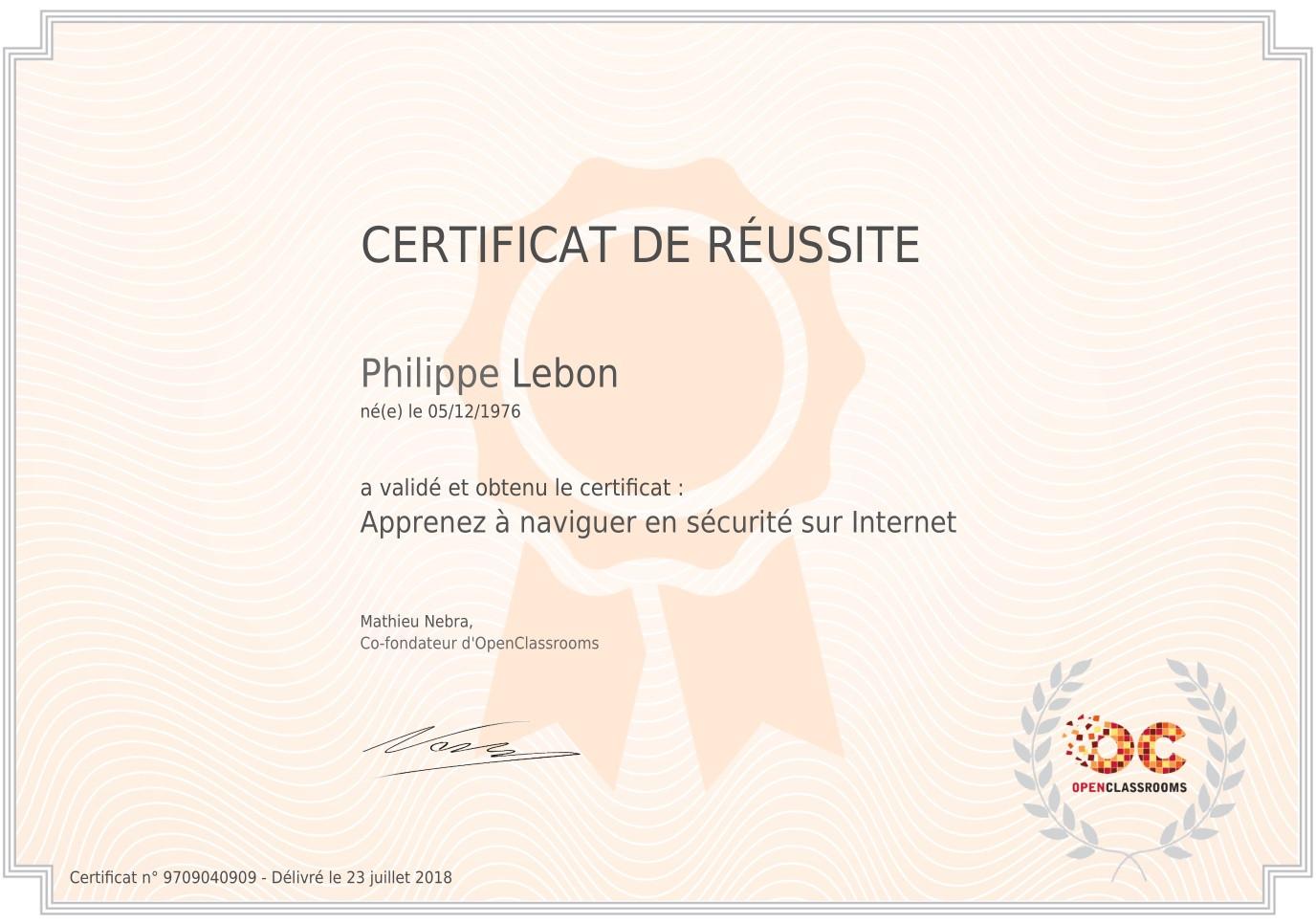 """Certificat """"Sécurité sur Internet"""""""