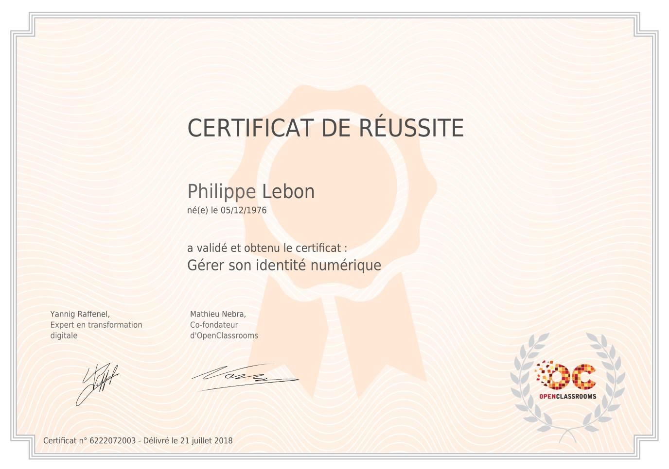 """Certificat """"Identité Numérique"""""""