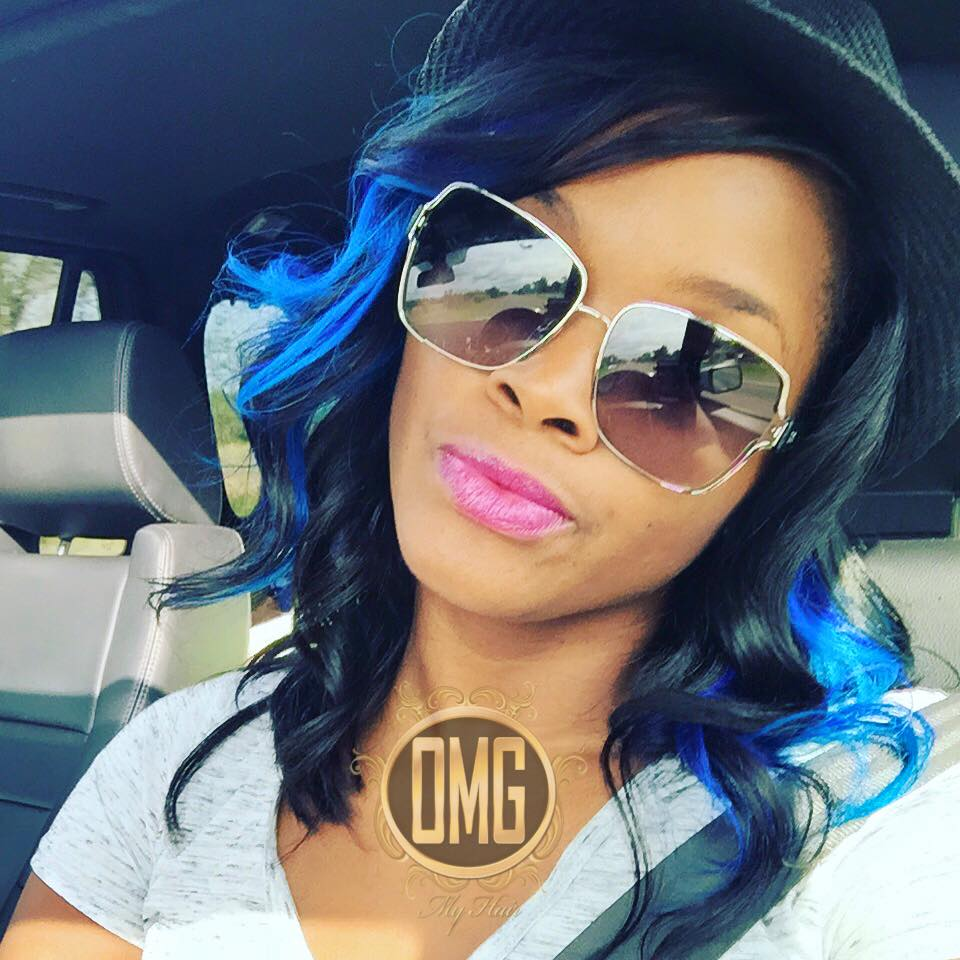 Custom blue sew-in from OMG