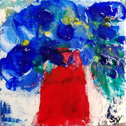 Blue flowers, red vase 5 x 5