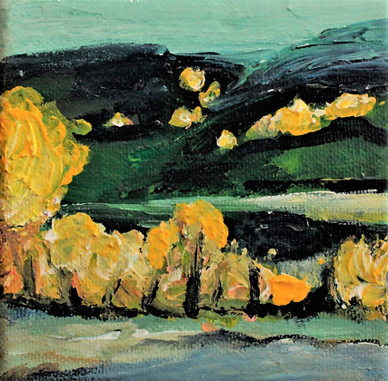 Yellow trees in the mountains - 4 x 4