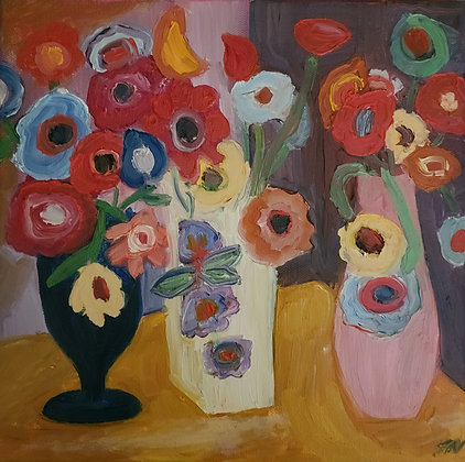 Flowers in 3 vases 10 x 10