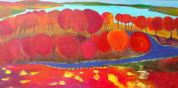 Red tree landscape 24 x 48