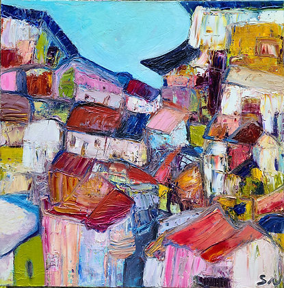 Abstract village landscape 24 x 24
