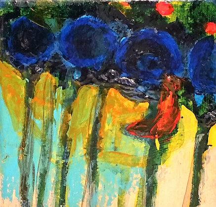 Redbird and blue flowers 4 x 4