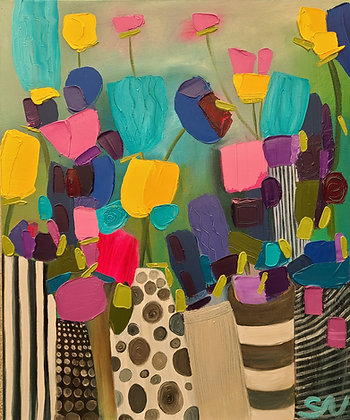 Flowers and vases 20 x 24