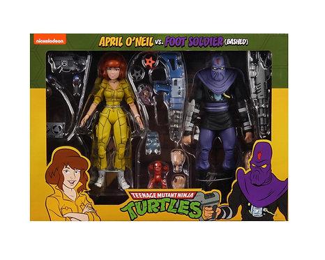 """Teenage Mutant Ninja Turtles - Cartoon April O'Neil & Foot Soldier 7"""" Action Fig"""