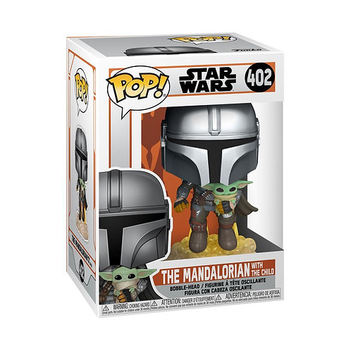 Star Wars: The Mandalorian - Mandalorian with the Child Jetpack Flying Pop! Viny