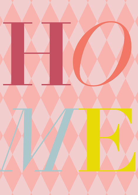 Word Home print, Part of a set of three, home sweet home print