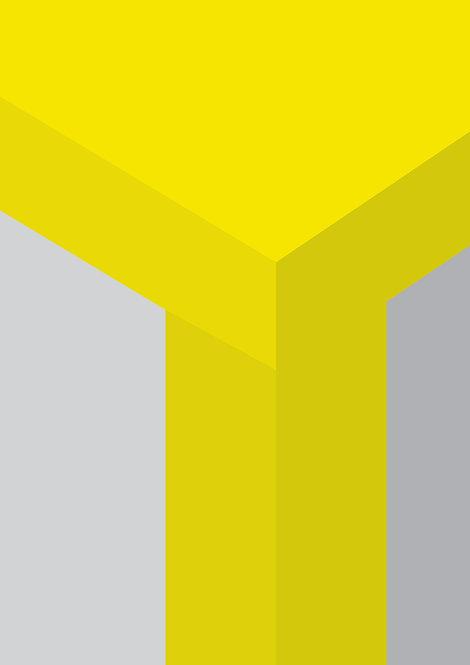 graphic art print, yellow and grey wall print, colour block graphic, art print, abstract print