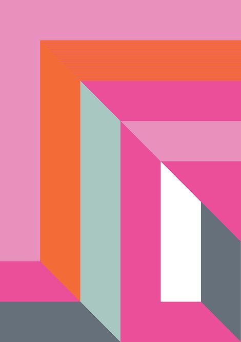 Graphic wall art print in colourful bright stripes. Geometric wall print, abstract art, dynamic art print