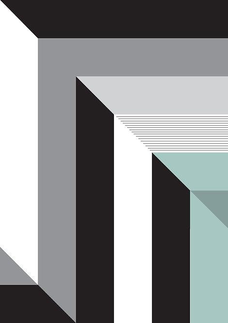 Abstract wall art print in monochrome stripes. Geometric art, dynamic art print, graphic print, graphic pattern