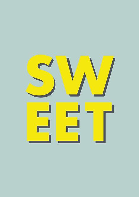 Sweet word print, typographic poster, word art, graphic poster, graphic prints, rarebirdsart