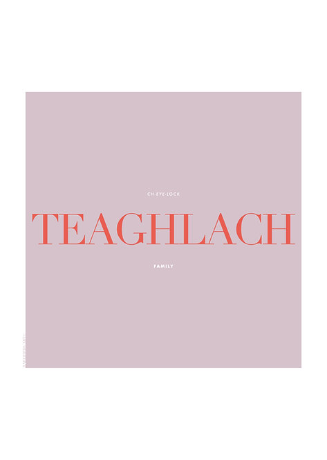 Irish Word Teaghlach, meaning Family, Poster, Irish wall art, rarebirds art