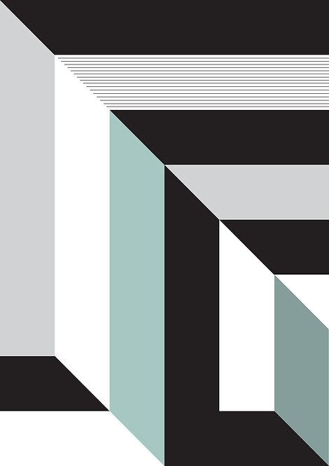 Abstract wall art print in monochrome stripes. Geometric art, dynamic art print, graphic print, graphic patterns