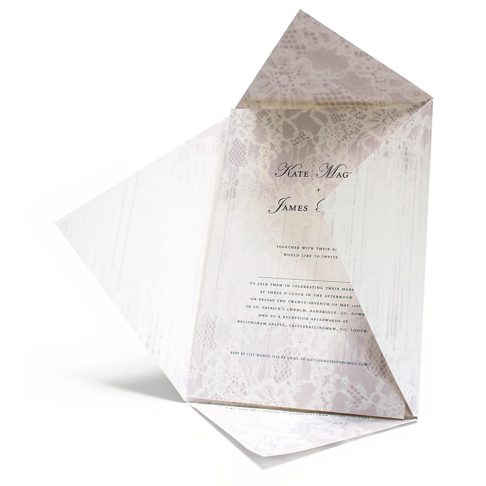 Gilded-lili's Faded Lace Wedding Invitation from the Enraptures Collection. Custom options available.