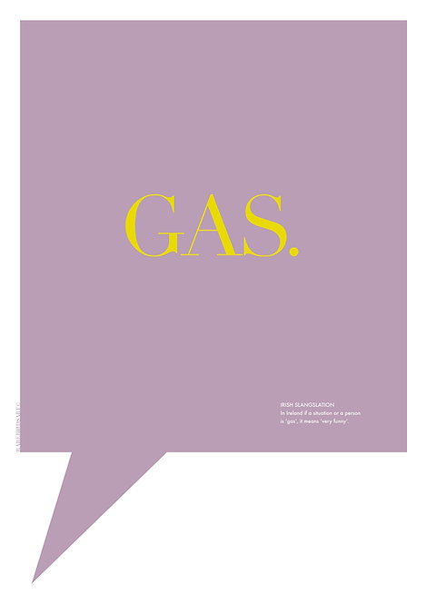Irish word print, brightly coloured Irish prints, word 'Gas'