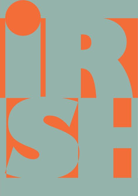 Proud Irish word print in patriotic green and orange, Irish word print, Irish poster, wall prints, rarebirds art
