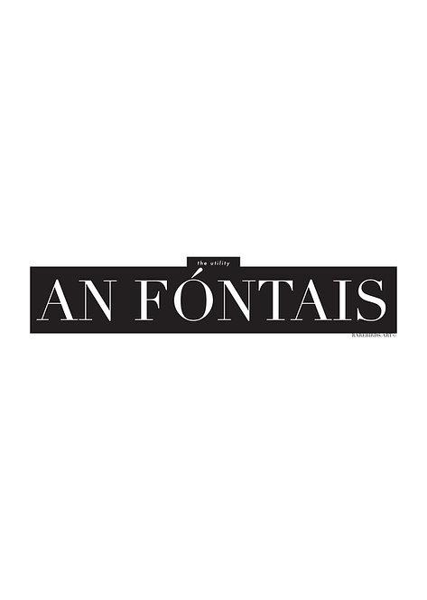 Irish Words an fóntais, meaning the utility, Poster, Irish wall art, rarebirds art, Irish language