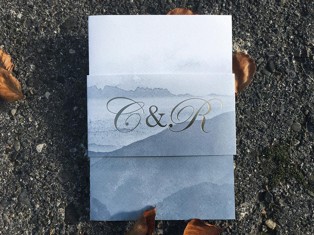 Ciara Doherty's custom wedding stationery by Gilded-lili
