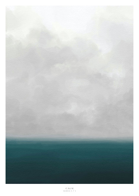 Print of the clouds over a calm sea, sea view, horizon painting