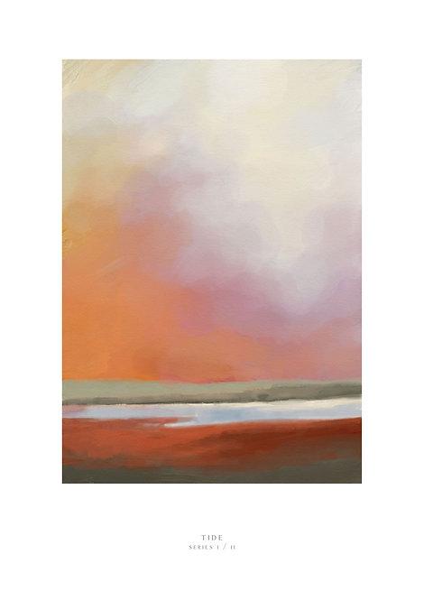 Art print, painting of the tide in an estuary, evening sky painting, wall art, art prints, Irish art prints, rarebirds art