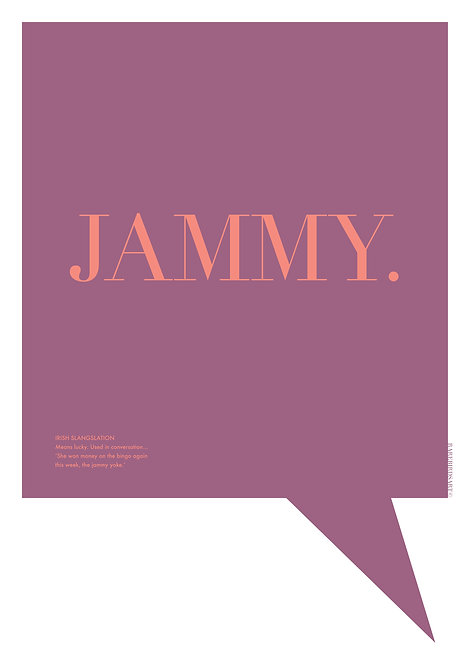 Jammy poster, brightly coloured wall art, Irish word translation prints