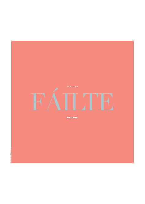 Failt means welcome in the Irish language. Failte poster, Irish wall art, graphic posters,  rarebirds art