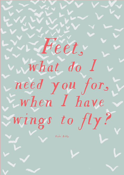 Wings to fly poster, kids art poster, kids wall art, posters for kids, encouraging words for kids, rarebirds art
