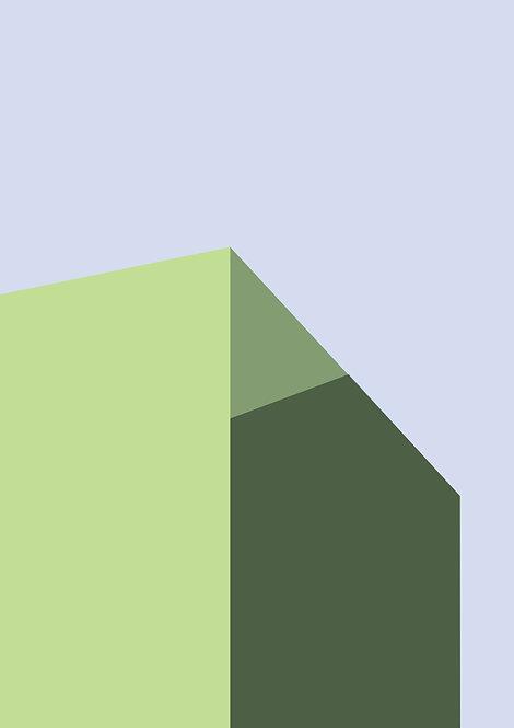 Graphic print, shadows prints, graphic design print, wall art, rarebirds art, green and blue graphic shapes print, graphic