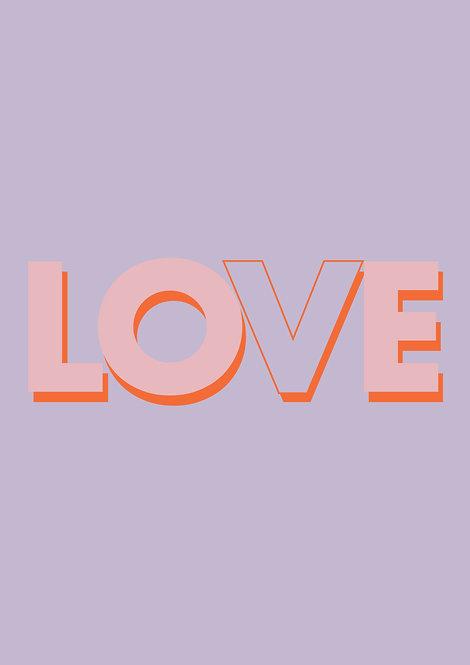 Love word print, typographic poster, word art, graphic poster, graphic prints, rarebirdsart