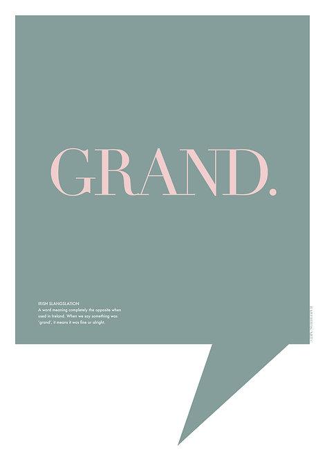 Grand poster, Irish word poster, Wall print, Irish art, Irish prints