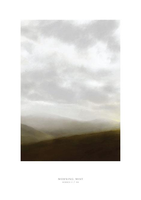 Misty Irish landscape art, wall art, clouds, landscape painting, abstract landscape print, Irish prints