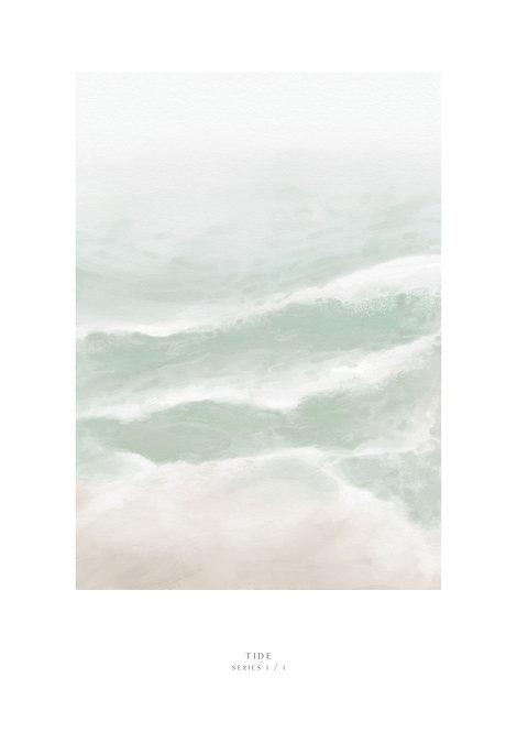 Painting of the shore with waves breaking on the sand, waves art print, wall art print, Irish art, Irish print, rarebirds art