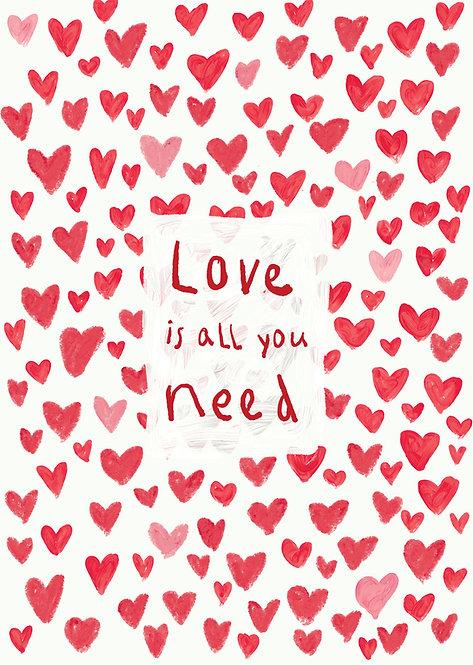 Kids love is all you need print, kids framed wall art, rarebirds art, words for kids poster, kids inspirational poster
