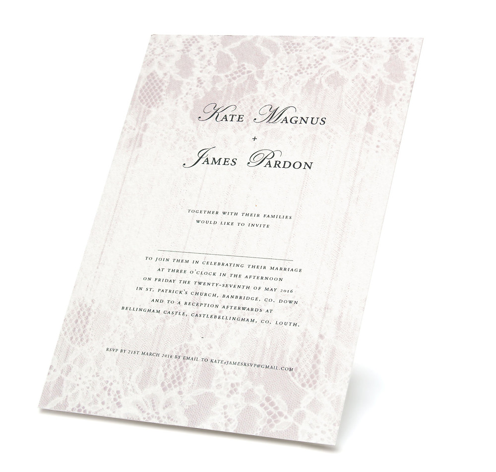 Gilded-lili's Faded Lace Wedding Invitation from the Enraptures Collection