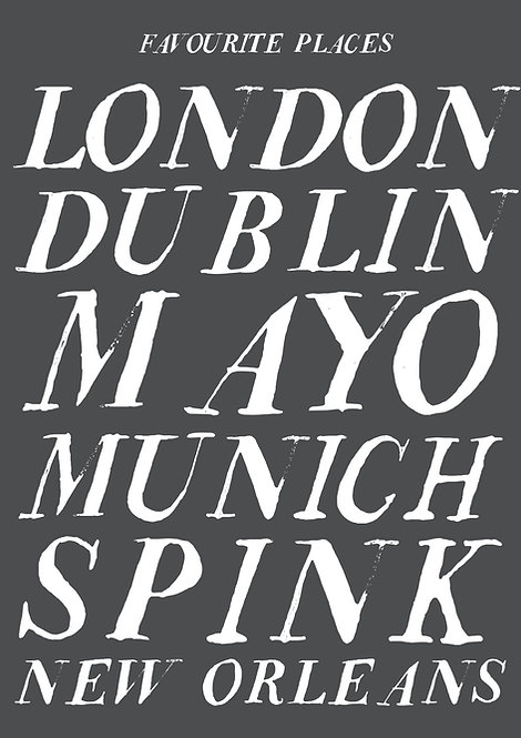 Personalised poster, favourite places poster, places poster, typographic poster